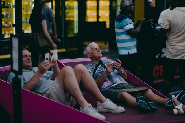 Tourists at Times Square in NYC.